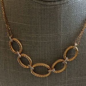 SS/gold wash Textured Link Necklace